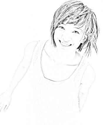 短发女生铅笔画
