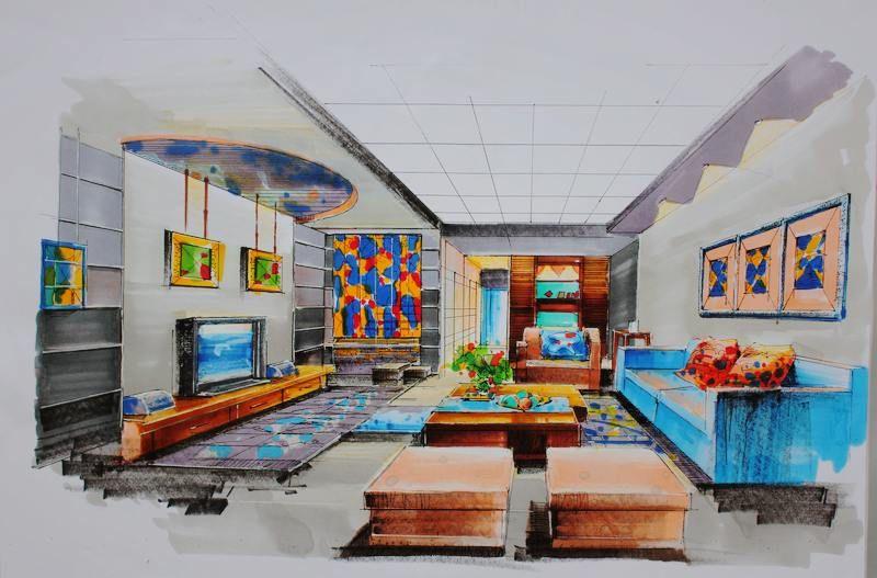 彩铅画可爱家具