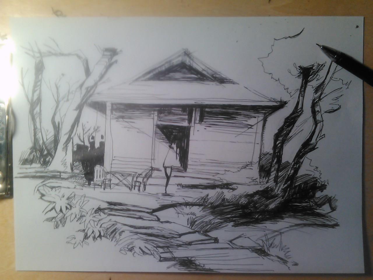 房屋速写 手绘练习小稿 黑白效果手绘 高清图片