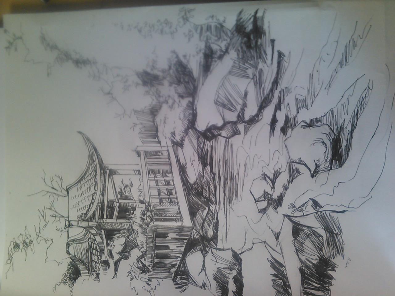 手绘园林俯视图手绘建筑俯视图环艺设计手绘俯视图