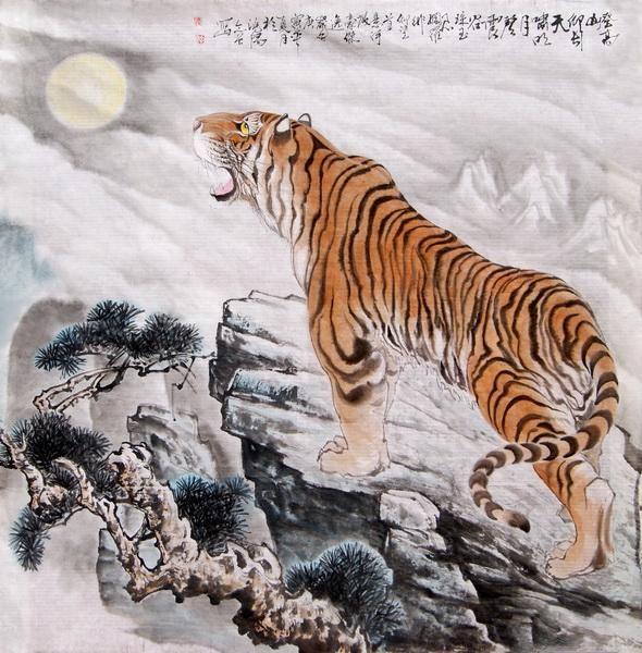 老虎 月作品图片