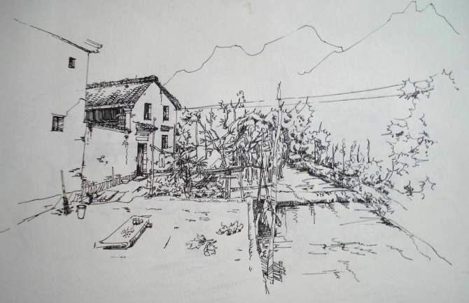 关于宏村的手绘速写