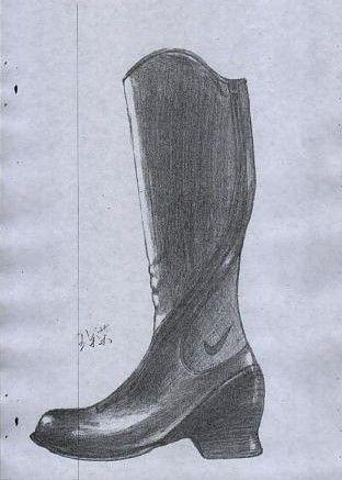 鞋子素描案例图片商业练习 油彩PT插画素描