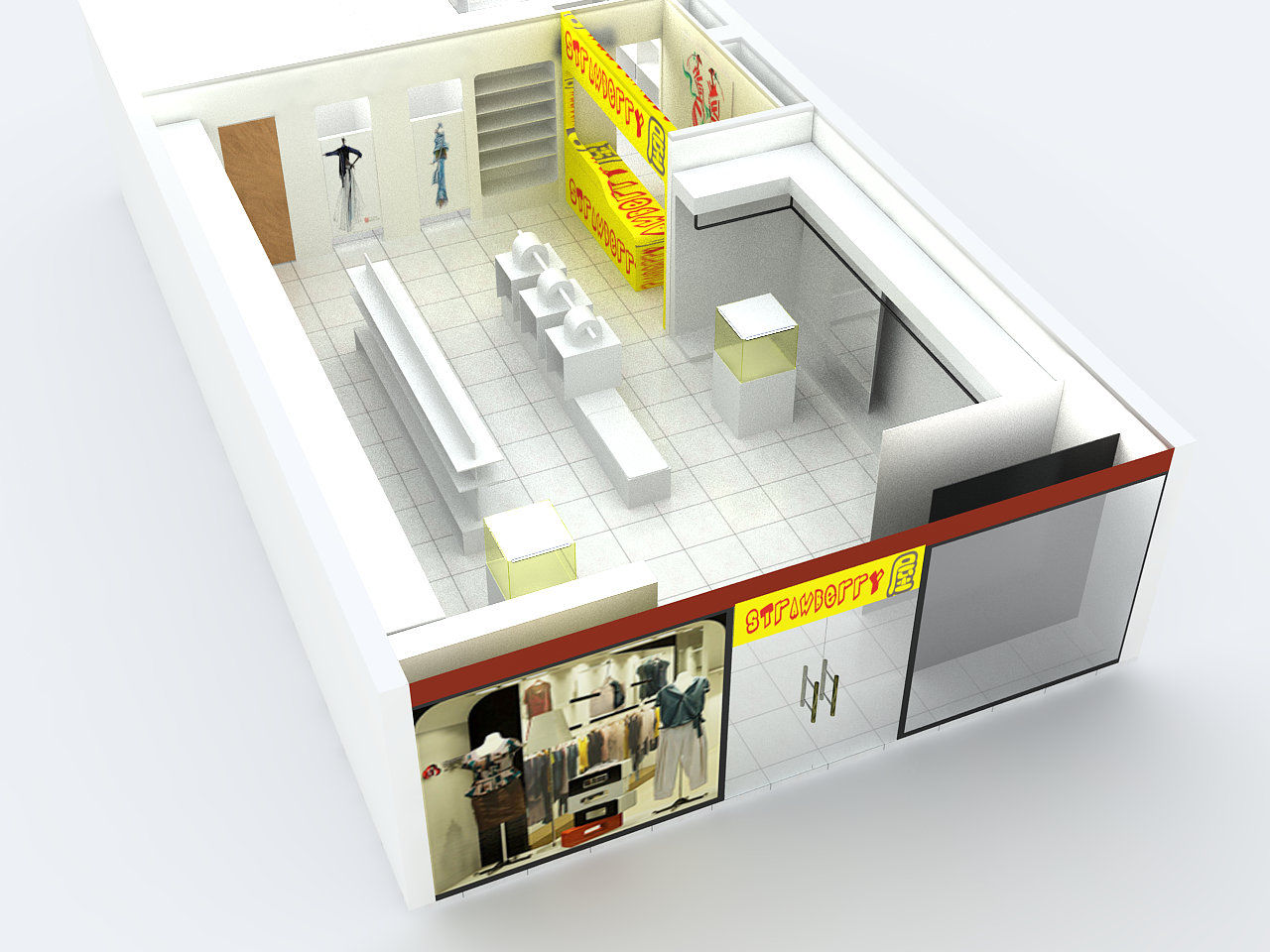荼室店面设计产品展示柜装修效果图 – 设计本