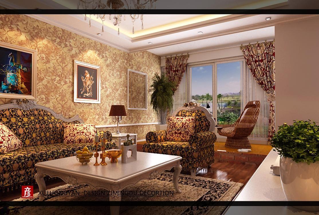 欧式客厅沙发背景案例图片