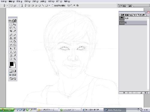 第5步 用钢笔画出头发轮廓案例图片 设计师青岛小卡的空