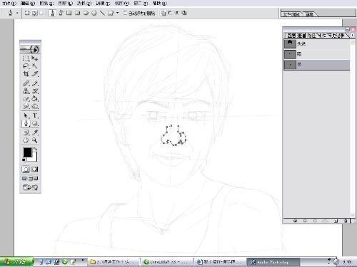 第7步 用钢笔画出鼻子轮