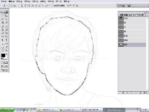 第11步 用钢笔画出头型