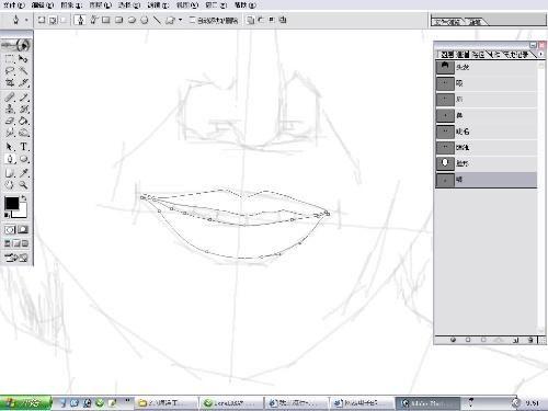 第11步 用钢笔画出头型轮廓案例图片 设计师青岛小卡的空