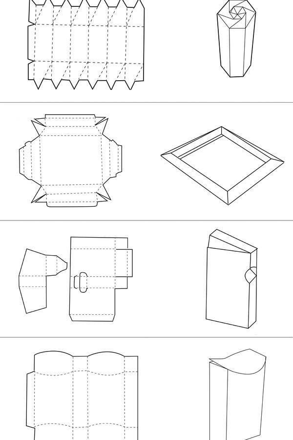 纸盒包装展开图图片