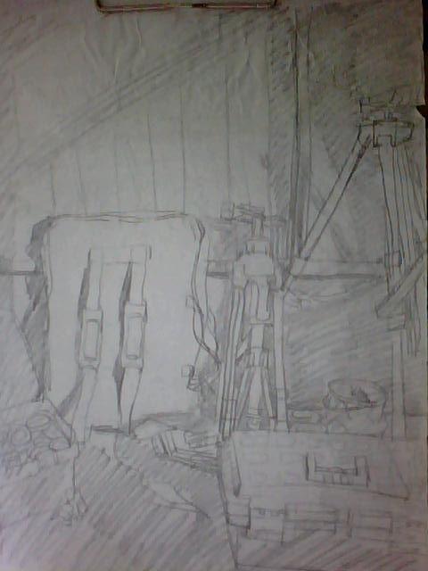 画袋 画箱 画架 黑板 睡觉 休息 下午继续 阳光 阴影 斜照 窗户案例图