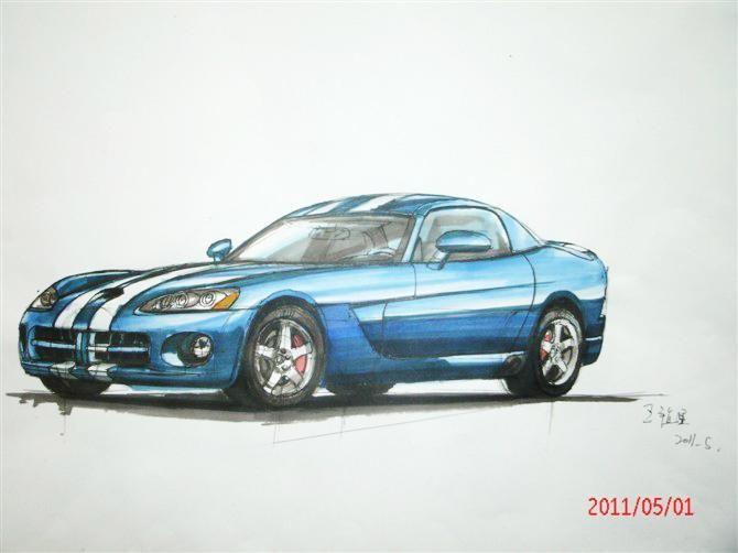 产品手绘效果图  手绘  汽车