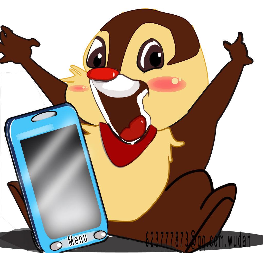 土拨鼠与手机-卡通-作品案例