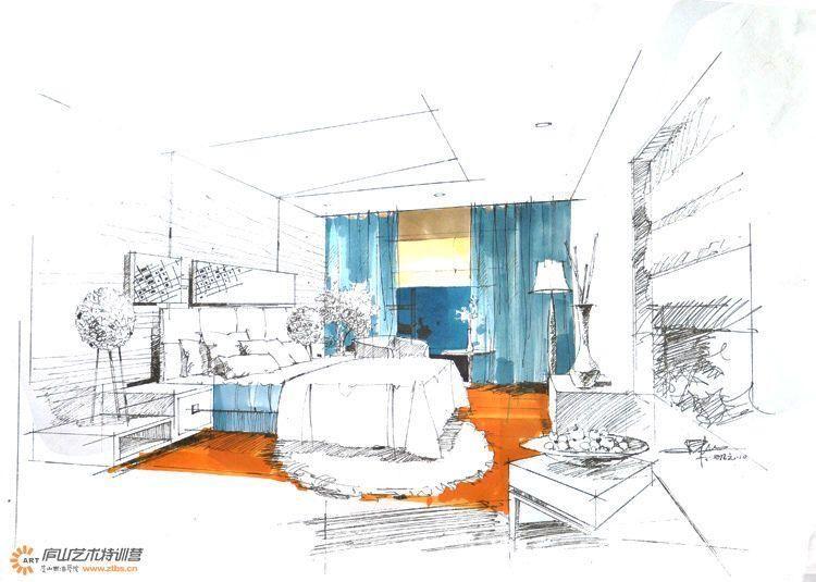 陈红卫卧室空间手绘步骤图案例图片-陈红卫手绘-手绘