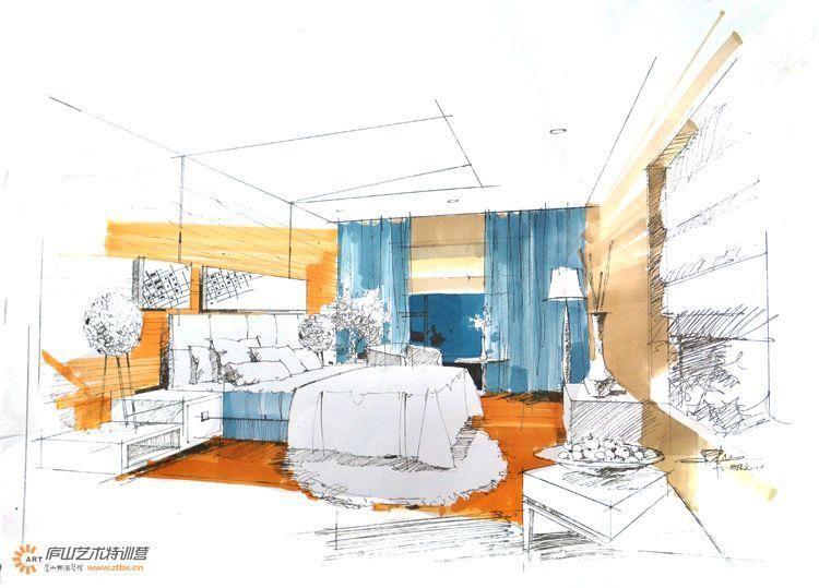 陈红卫卧室空间手绘步骤图