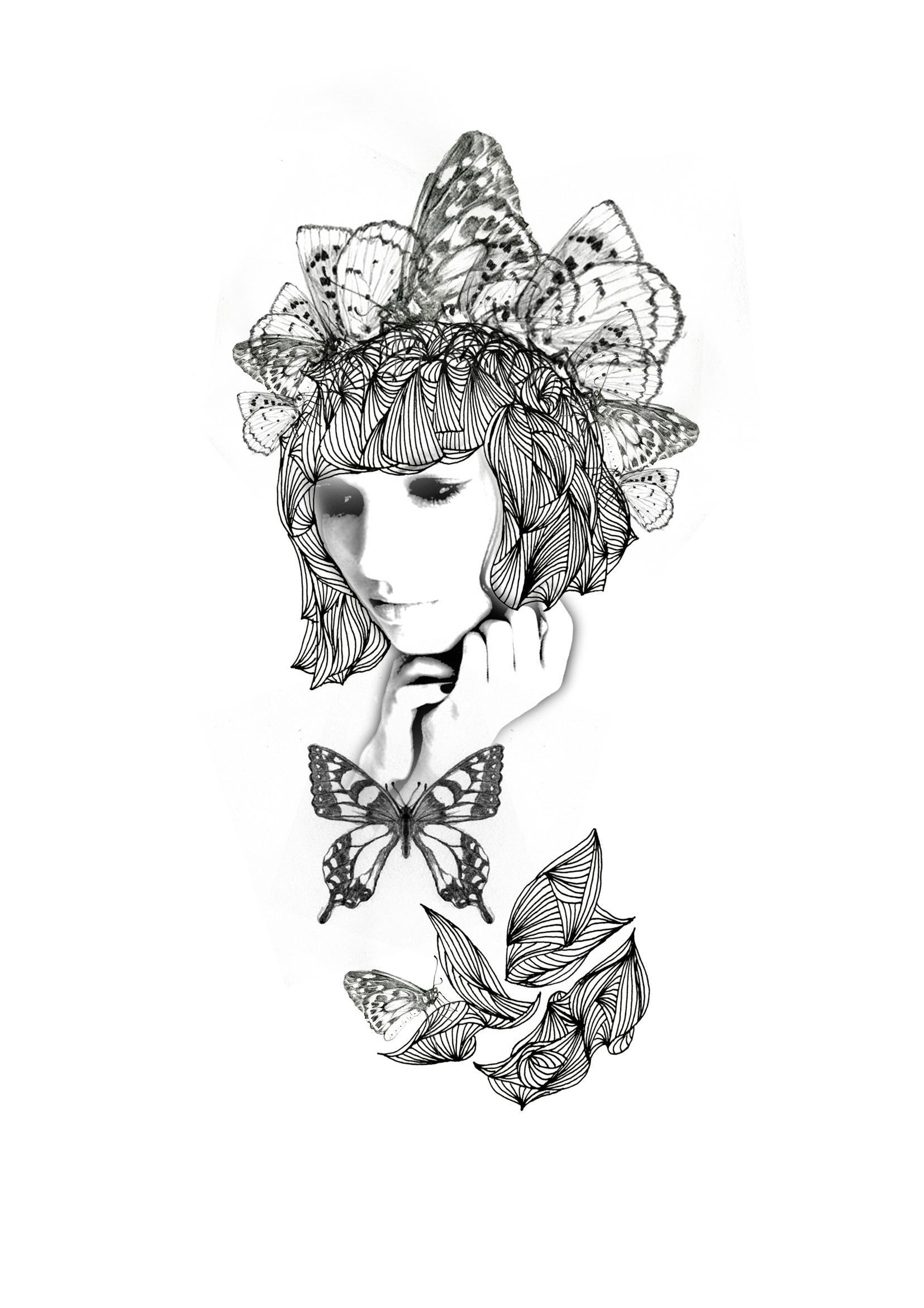 黑白时尚传统插画