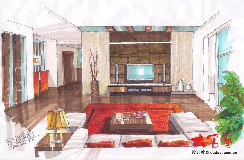 手绘案例图片 - 设计师丹丹妹设计工作室的空间 - 红