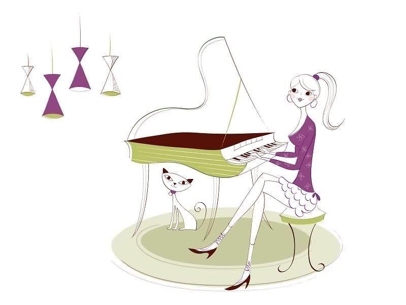手绘弹钢琴
