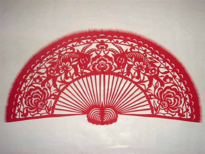 扇子画中国风手绘图片红色