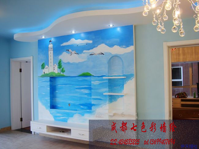 室内家装 地中海 墙体彩绘 景观壁画案例图片 成都七色彩墙绘工作室的空间 红动中国设计空间 室内家装地中海风格 地中海风格
