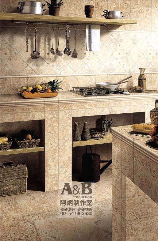 专业陶瓷砖效果图 调砖铺图 瓷砖铺贴图样板间 厨房效果高清图片