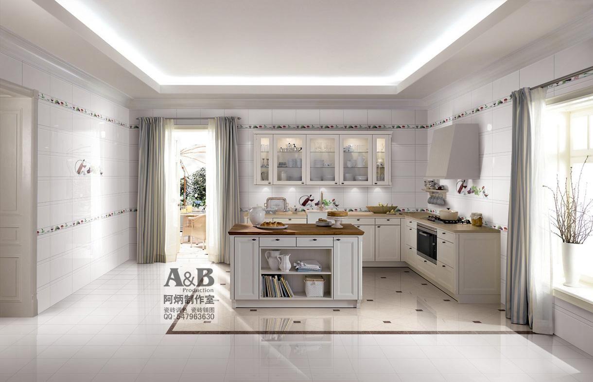 专业陶瓷砖效果图,调砖铺图,瓷砖铺贴图样板间,厨房效果图,瓷高清图片