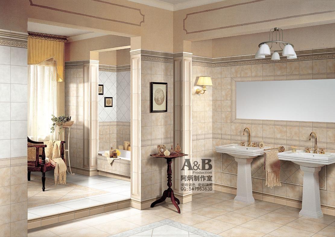 专业陶瓷砖效果图 调砖铺图 瓷砖铺贴图样板间 卫浴效果高清图片
