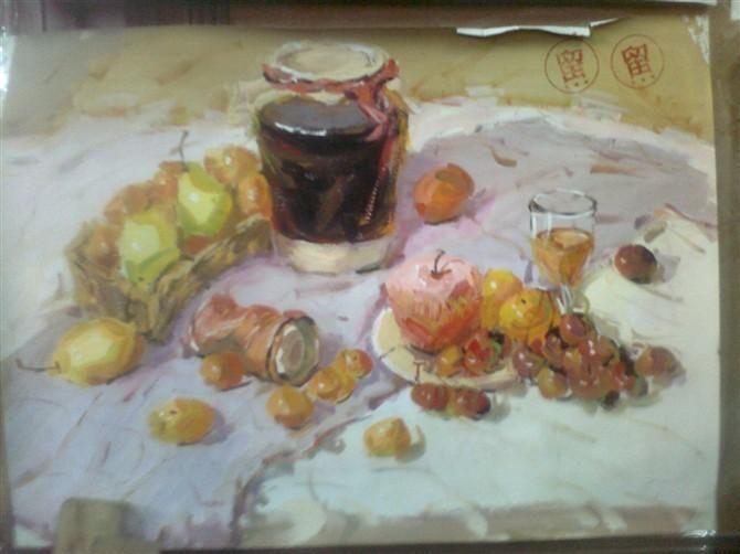 静物 水果 罐子 写生