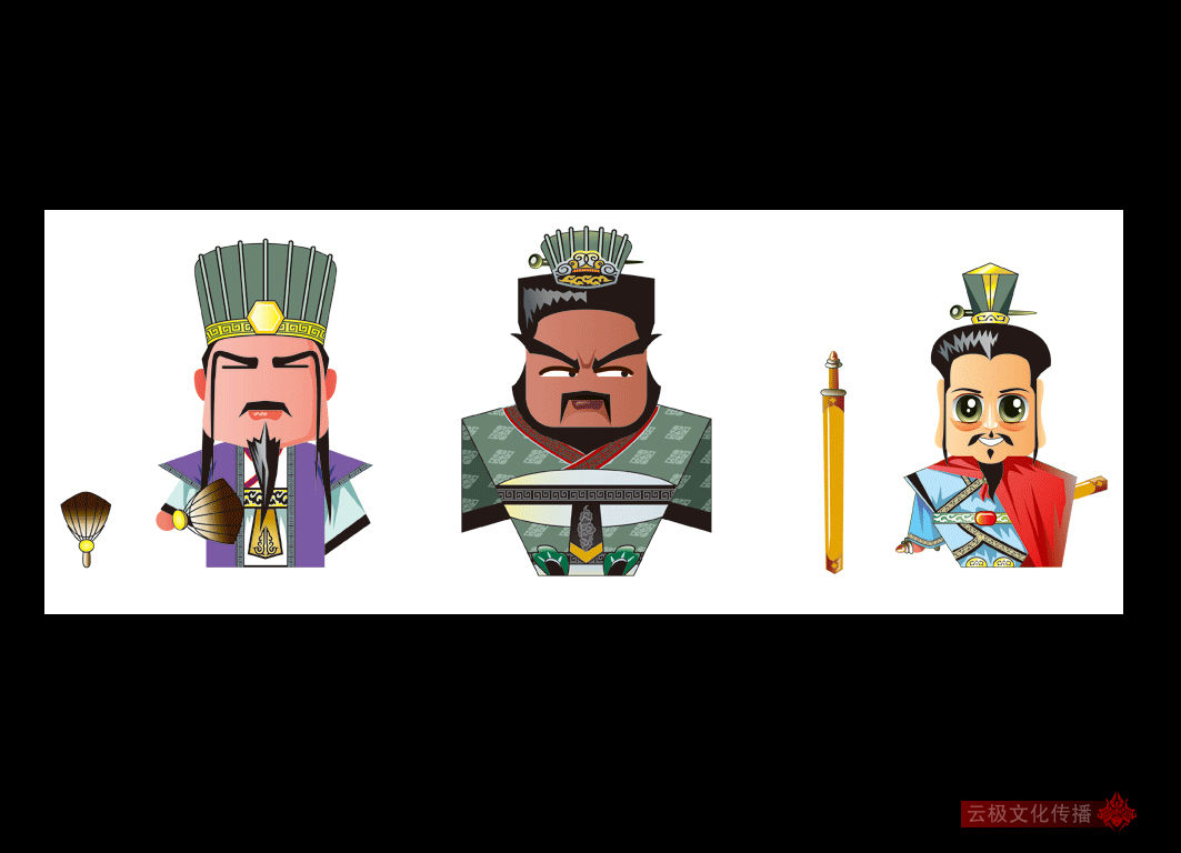 三国人物卡通案例图片