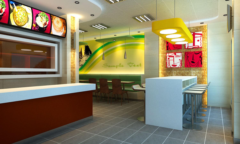 效果图-快餐厅-设计案例