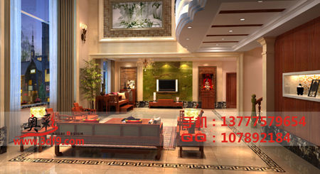 别墅一楼会客厅效果图案例图片 杭州奥彩效果图设计公司的空间 红动高清图片