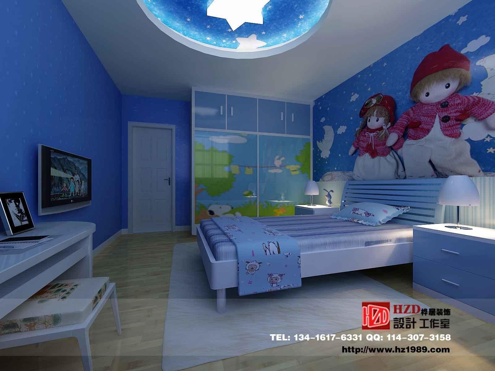 蓝色儿童房效果图