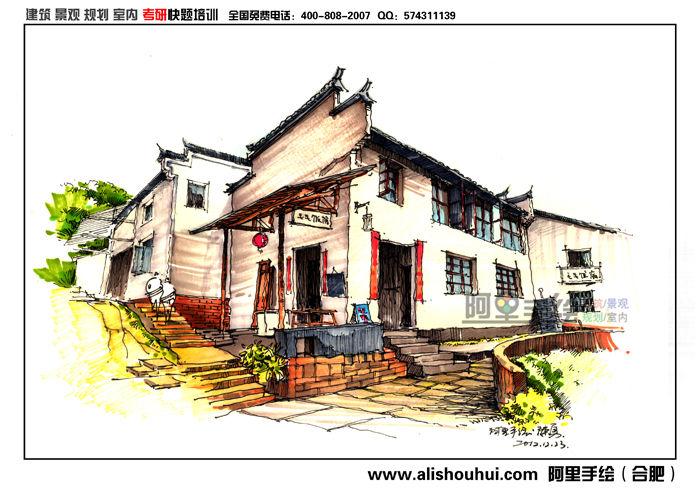 青岛旅游景点建筑风景画钢笔画