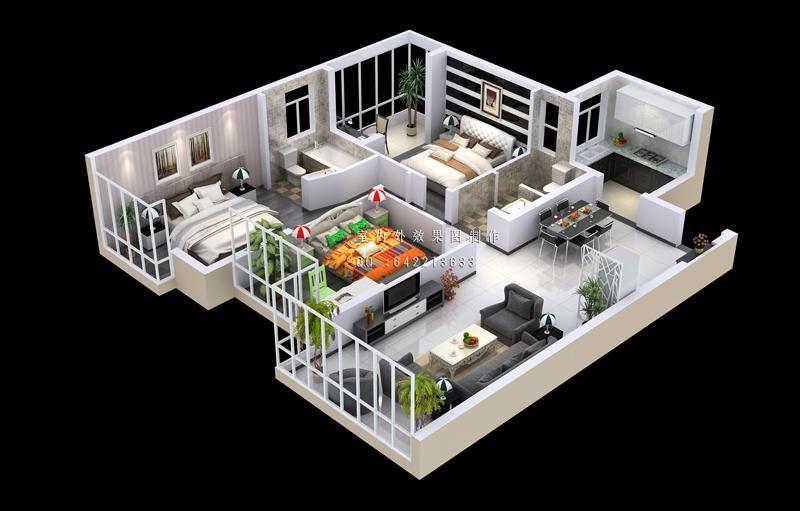 室内俯视效果图制作案例图片 西安六方体效果图制作工作室的空间 红