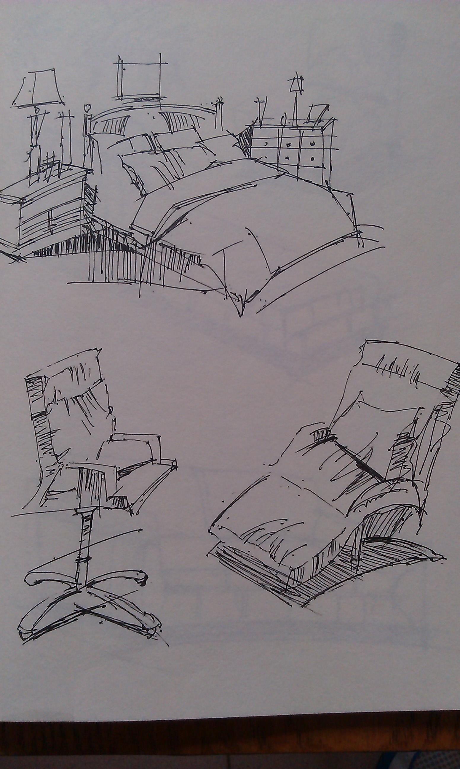产品家具手绘图线稿