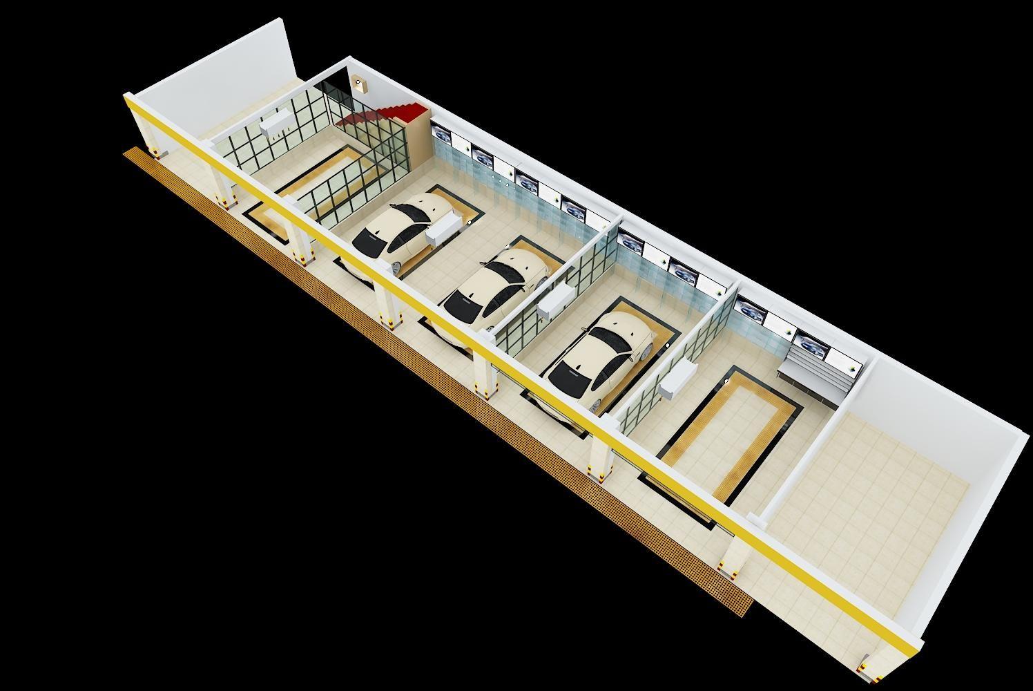 汽车美容店设计-3d效果图-设计案例