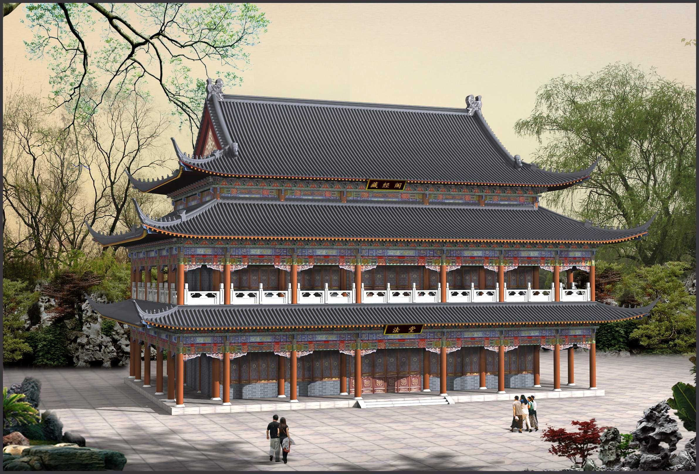 中国古建筑效果图_中国古建筑物效果图_建筑模型