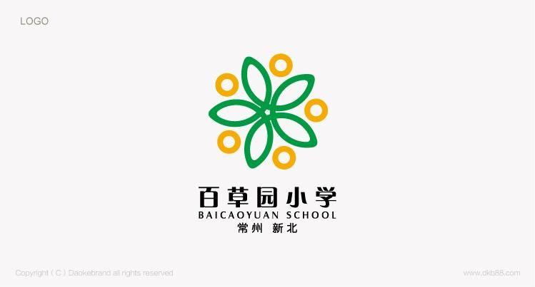 有鲜明特色的学校标识设计 常州百草园小学校徽设计 常州VI设计 常