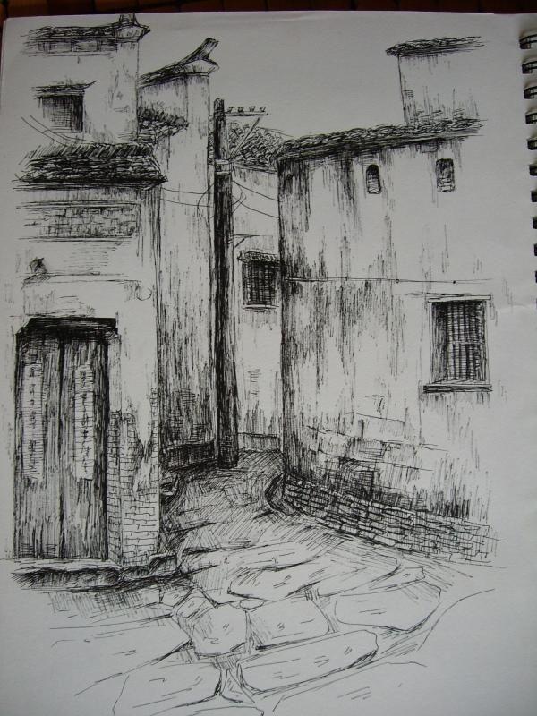 手绘临摹风景画-插画-设计案例