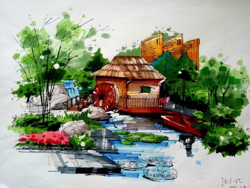 手绘临摹风景画