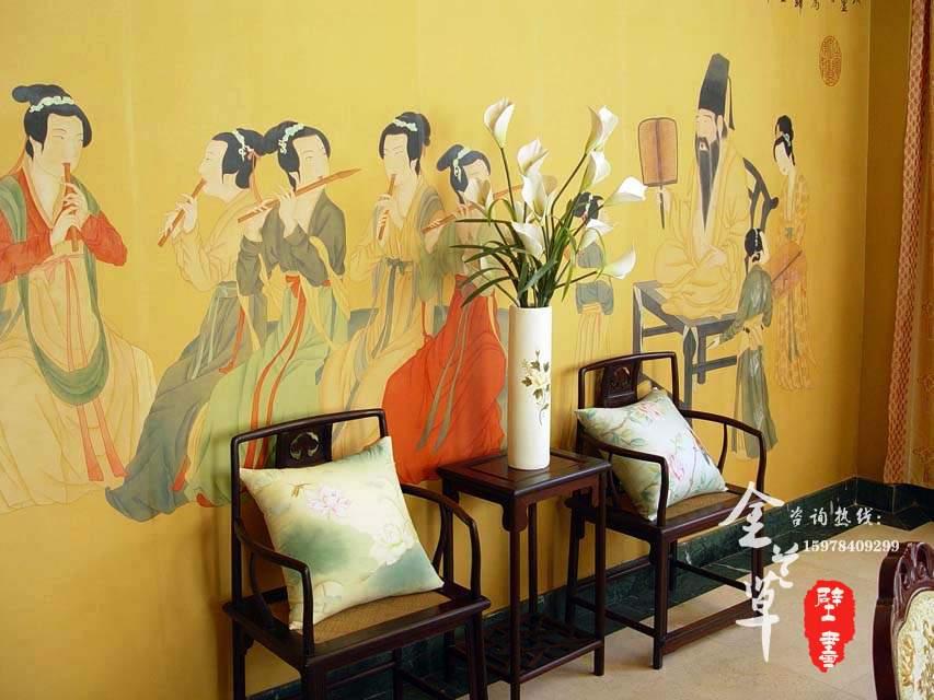 郑州手绘丝绸壁画1