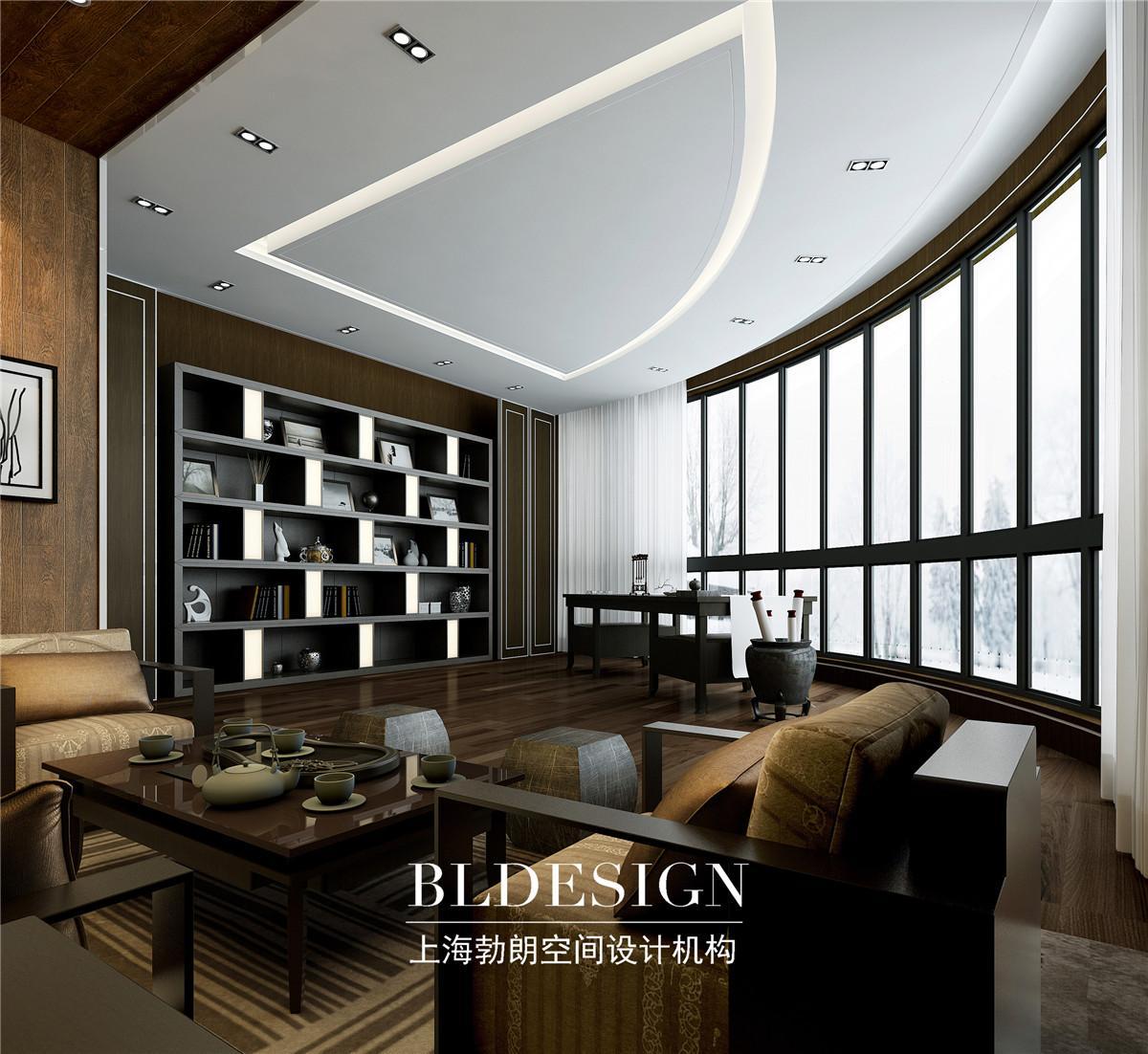 现代中式办公室装修设计效果图 新中式办公室设计案例3456789案例图高清图片