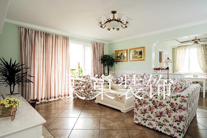 昌建誉峰小区88平两室两厅清新田园风装修效果图1高清图片