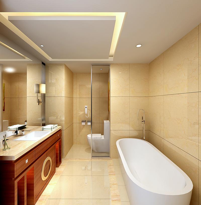 酒店卫生间效果图1-料理店效果图1案例图片 长沙效果图公司的空间 红高清图片