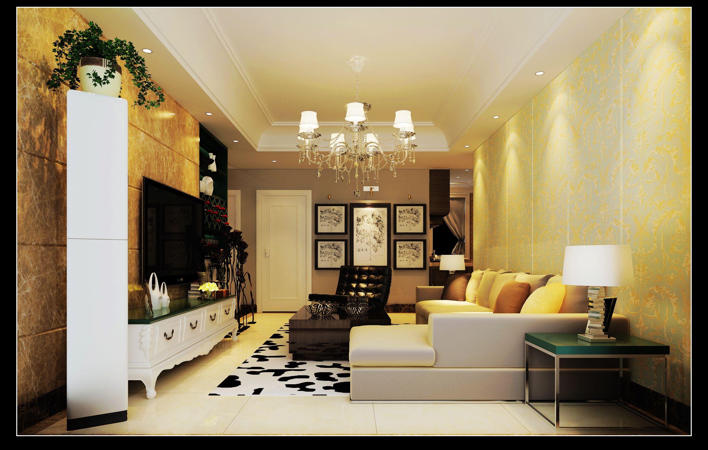 海马公园110平简欧装修三室案例效果图-美巢装饰三室