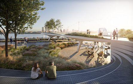 """""""高架式""""公园的设计,创造了一种醒目的视觉体验和韵律感"""
