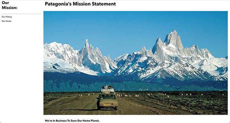 品牌Patagonia网站简单明了,清楚地传达了公司的环保使