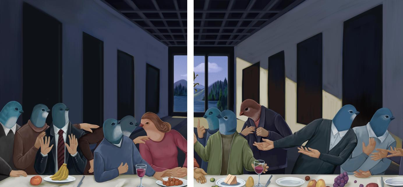 两侧的十二门徒变身鸟人,是插画作者钟爱的视觉形象