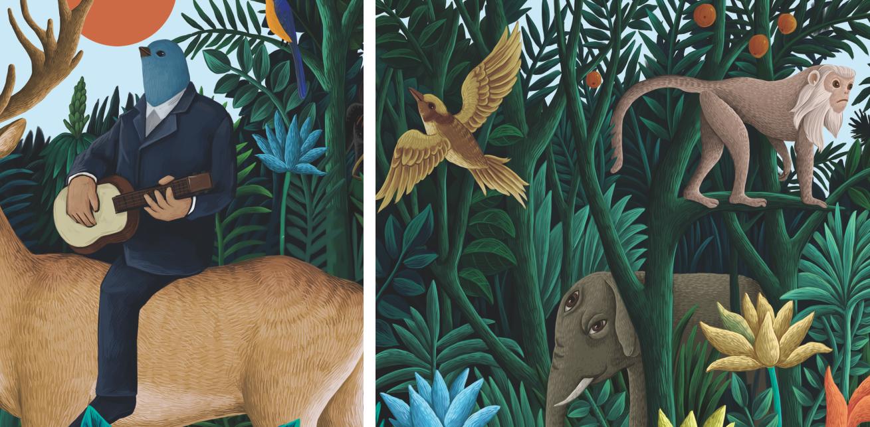 弹奏的鸟人、茂密的植物、丛林深处的动物,美丽自然与美好生活在