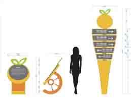 清新柑橘果園導視牌路標造型設計